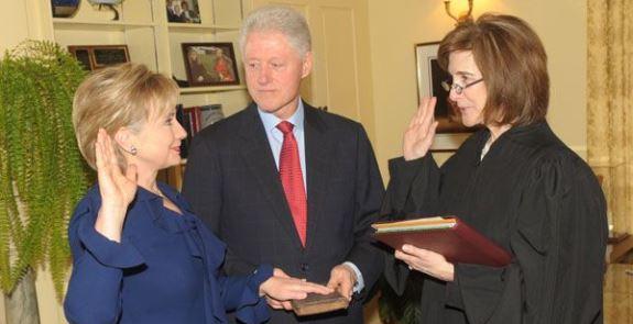 Hillary swears oath
