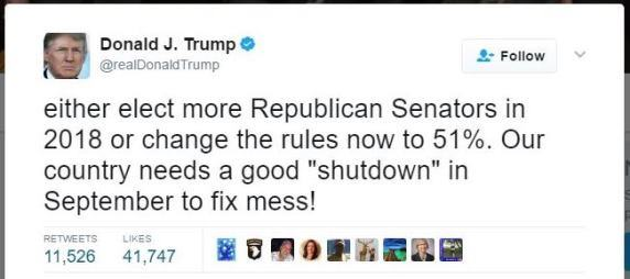 Trump tweet shutdown