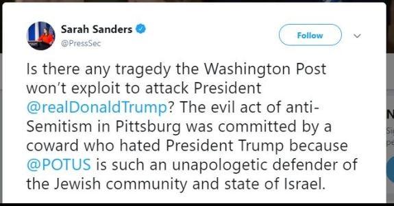 Sarah Sanders Tweet