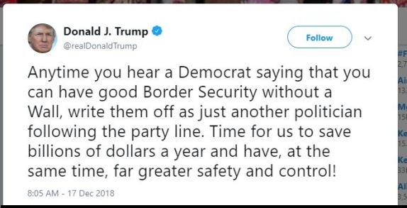 Trump tweet border security