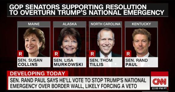 Republicans against Trump declaration