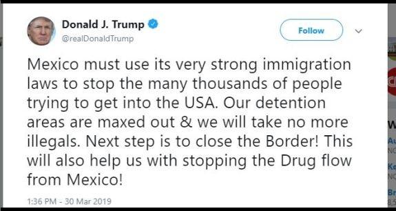 Trump Tweet close the border
