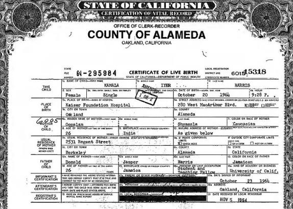 Kamala Harris Birth Certificate