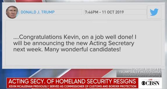 McAleenan Resigns Trump Tweet