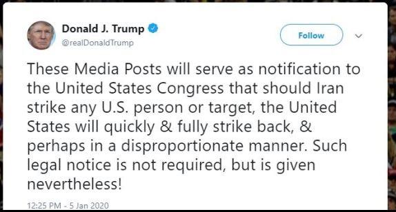 Trump tweet Iran