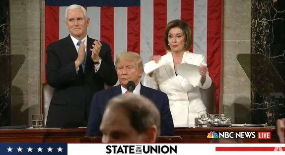 Pelosi tears up Trump speech