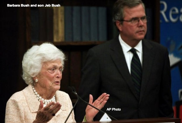 Barbara and Jeb Bush