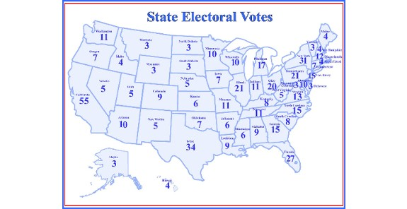 Electoral College votes by state