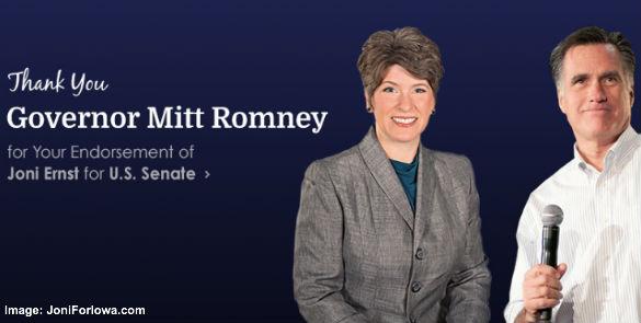 Joni Ernst and Mitt Romney