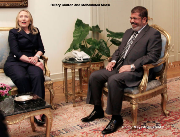 Hillary Clinto and Mohaamed Morsi
