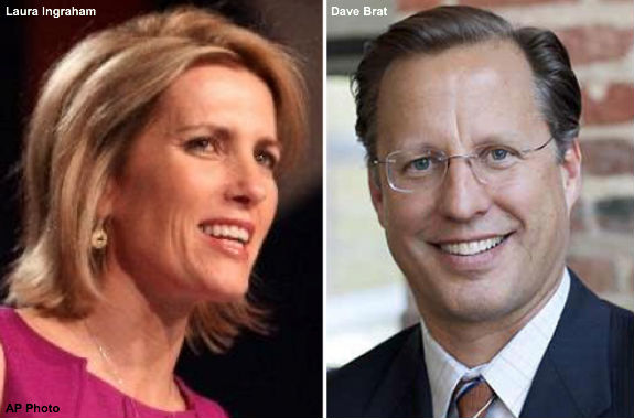 Laura Ingraham and Dave Brat