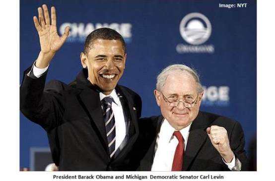 Democrats Barack Obama and Carl Levin