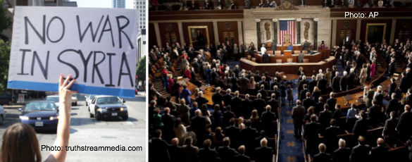No War in Syria Protester and Congress