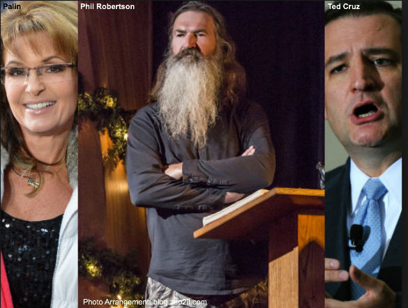 Palin, Robertson, and Cruz