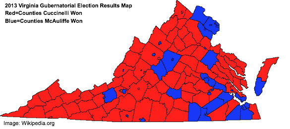 Virginia 2013 Gubernatorial Race Results Map