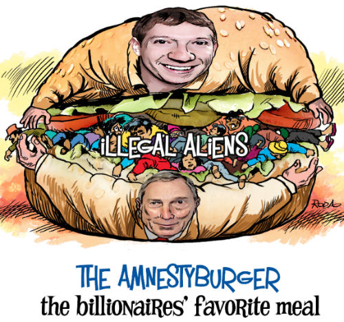 Zuckerberg & Bloomberg Amnesty Burger Cartoon