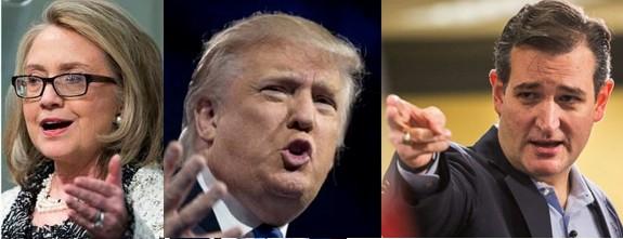Hillary Clinton - Donald Trump - Ted Cruz
