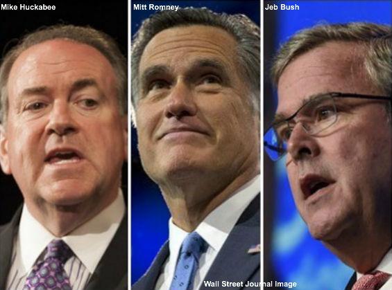 Huckabee, Romney, Bush