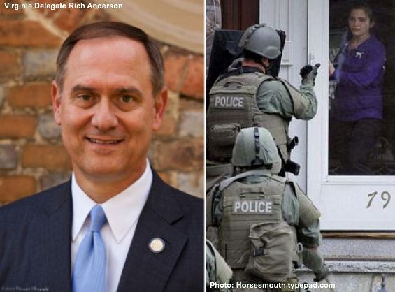 Del. Rich Anderson and police search
