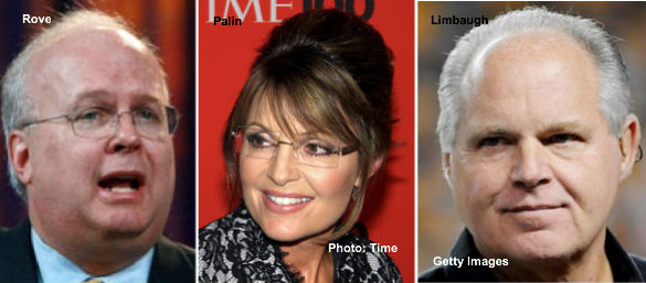 Karl Rove, Sarah Palin, Rush Limbaugh
