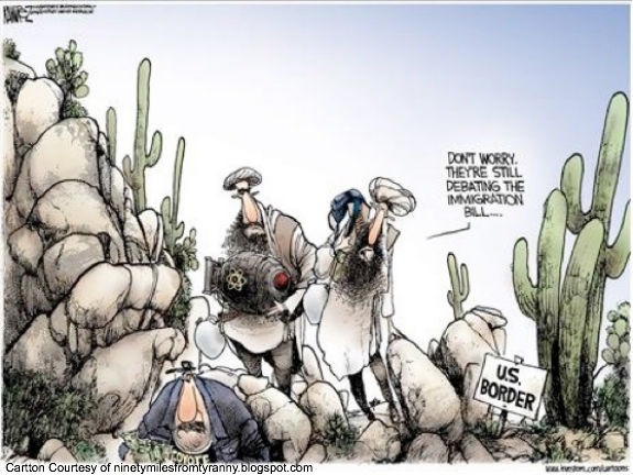 Islamic Terrorists Crossing Border Cartoon