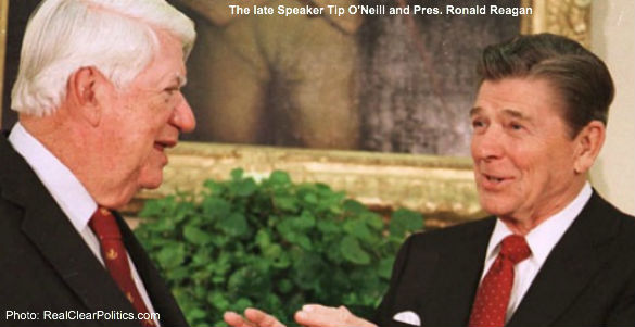 Tip O'Neill and Ronald Reagan